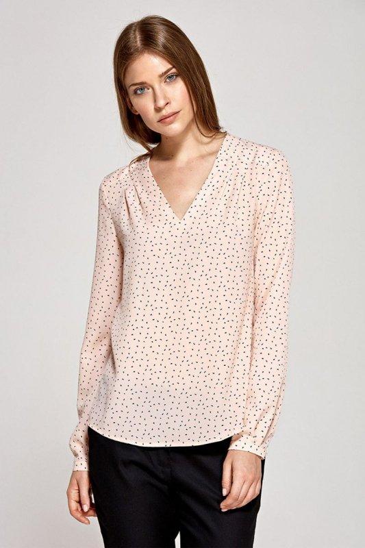 Bluzka z zaszewkami - wzór/róż - CB11