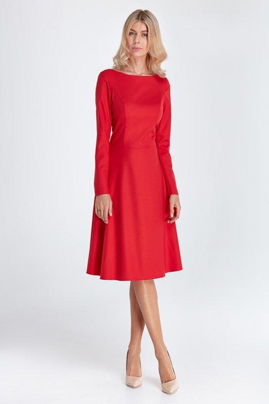 Elegancka sukienka midi - czerwony - CS02
