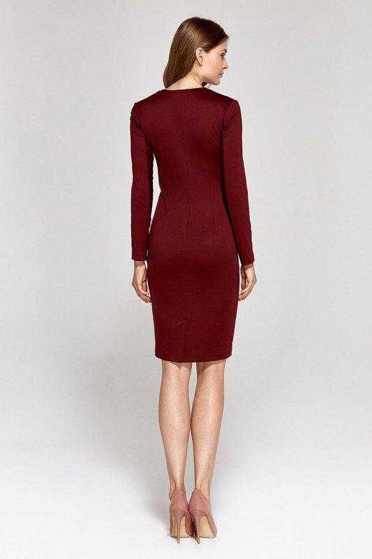 Sukienka z dekoltem w literę V - bordo - CS12