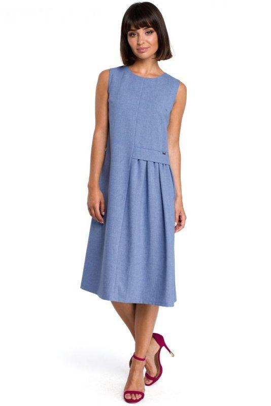B080 Sukienka midi niebieska