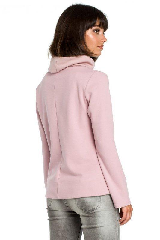 B085 Bluza z wiązaniem na boku pudrowa