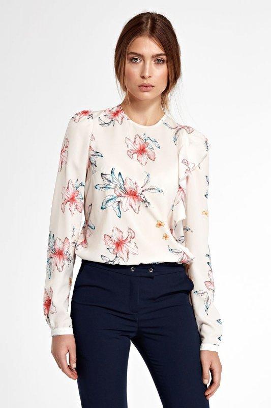 Bluzka z pionową falbanką po lewej stronie - kwiaty/ecru - B93