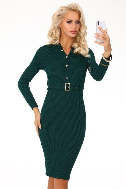 878f3ab3d8 Anselmi Dark Green FX1746 sukienka swetrowa - Sukienki - Moda Damska
