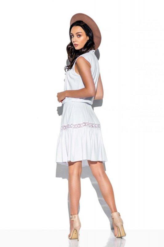Modna sukienka z koronkowymi wstawkami L333 biały