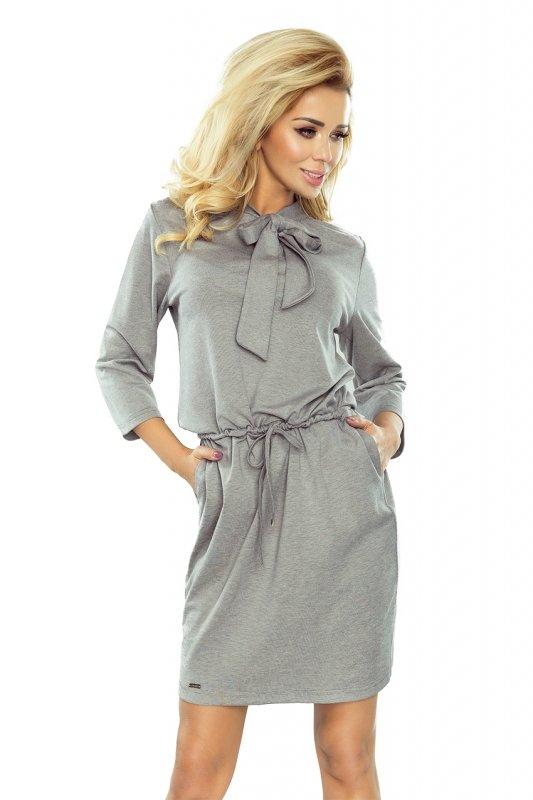 177-2 ZUZIA sukienka z wiązaniem pod szyją - SZARY melanż