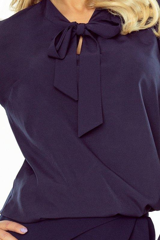 181-3 Bluzka z rozkloszowanym rękawkiem - GRANATOWA