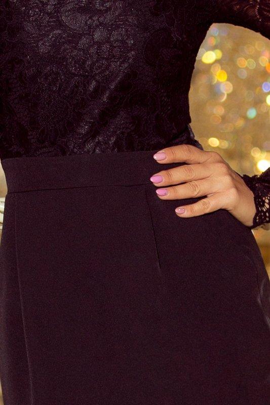 216-2 EMMA elegancka ołówkowa sukienka z koronką - CZARNA