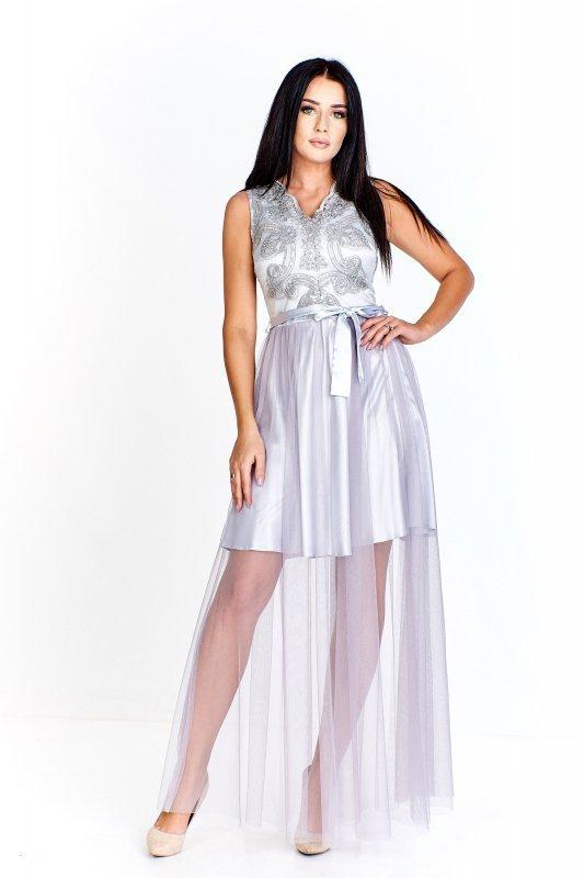 Wieczorowa sukienka z wyszywaną, koronkową górą urozmaiconą drobnymi cekinami i siatkowym dołem