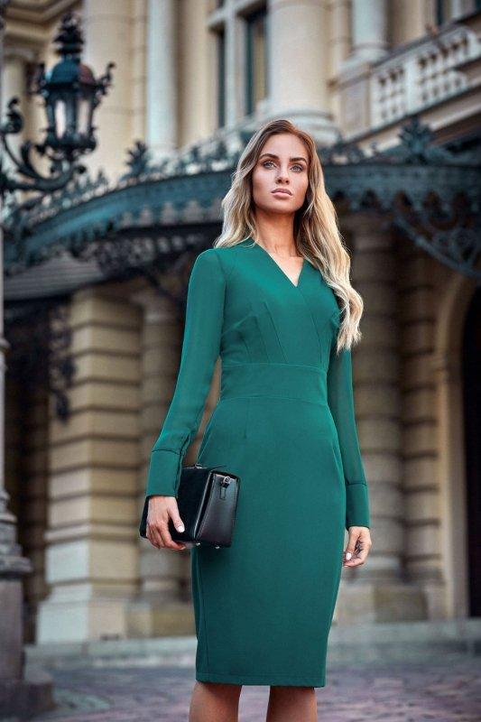 09f0dd1c2cd408 S136 Sukienka ołówkowa - zielona - Sukienki - Moda Damska