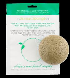 Gąbka Konjac do mycia twarzy z zieloną herbatą o działaniu wzmacniającym i antyoksydacyjnym do każdej cery