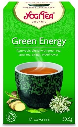 YOGI TEA® Herbata zielona z guaraną, imbirem i kwiatem bzu czarnego ZIELONA ENERGIA (Green Energy)