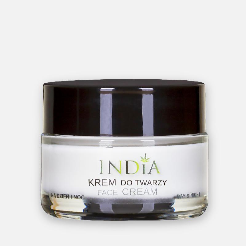 India Cosmetics Krem do twarzy z olejem konopnym do każdego typu cery na dzień i na noc 50ml