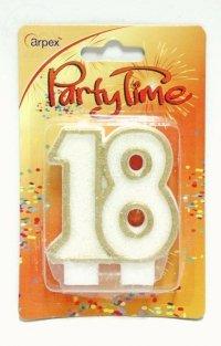Świeczka urodzinowa 18 złoty brokat