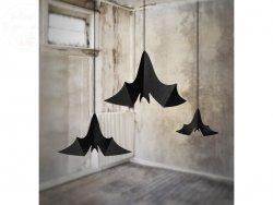 Zawieszki papierowe  Nietoperze czarne  - 3szt
