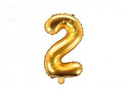 Balon foliowy Cyfra 2 - 35 cm złoty
