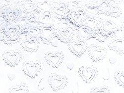 Konfetti metalizowane białe serca 15g KONS34-00