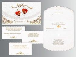 Zaproszenie ślubne  Czerwone Serduszka  - 1szt