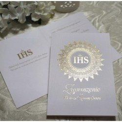 Zaproszenie ze złotym IHS na I Komunię Świętą - 1s