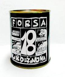 Puszka metalowa skarbonka FORSA 18 URODZINOWA