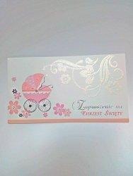 Zaproszenie na chrzest różowy wózeczek 1 szt