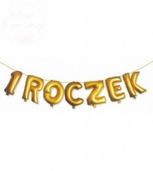 Balony, złoty napis - 1 ROCZEK -