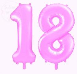 Balon foliowy cyfra 18 różowy 86 cm