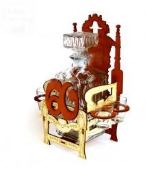 Karafka z kieliszkami Tron na 60-te urodziny