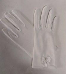 Rękawiczki komunijne białe z kokardką lycra matowa