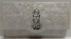 Zaproszenie ELEGANCE srebrne na I Komunię Świętą