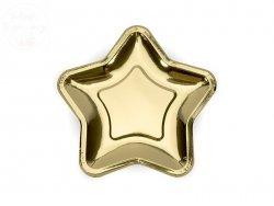 Talerzyki w gwiazdki  złote 18cm  - 6szt