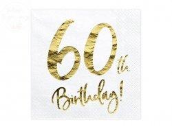 Serwetki 3 wartsw białe 60-ste urodziny  20 szt