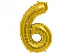 Balon foliowy złoty 34 cale Cyfra 6