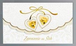 Zaproszenie ślubne ze złotą kokardką i różami
