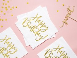 Serwetki białe ze złotym Happy Birthday 20szt