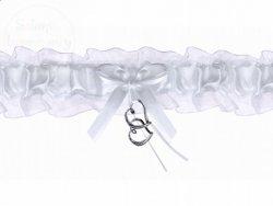 Podwiązka z serduszkami biała PDW4-008