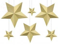 Dekoracja Gwiazdy złote 6 szt