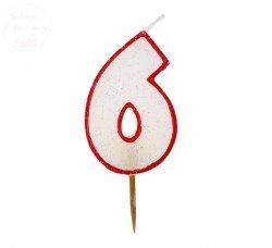 Świeczka cyferka 6 czerwony kontur z brokatem