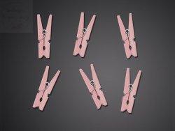 Klamerki drewniane różowe 20 szt