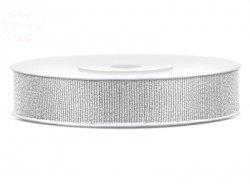 Tasiemka  brokatowa srebrna 10mm/25m