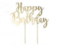 Topper na tort złoty  Happy birthday  22,5 cm
