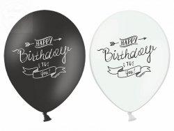 Balony Happy Birthday czarny, biały pastel 1szt