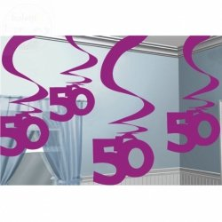 Dekoracja wisząca 50 URODZINY - Fioletowe 5 szt