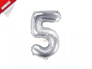 Balon foliowy Cyfra 5 - 35 cm srebrny