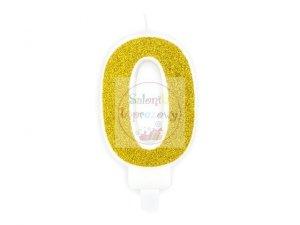 Świeczka urodzinowa cyferka 0 złota z brokatem