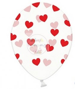 Balony 30 cm przezroczyste w czerwone serduszka