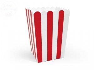 Pudełka na popcorn Czerwone Paseczki 60szt
