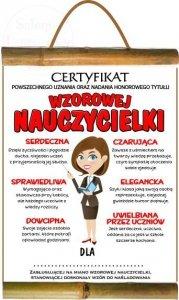 Dyplom Certyfikat wzorowej nauczycielki