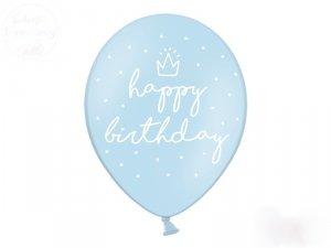 Balony 30 cm błękitne HAPPY BIRTHDAY 1 szt