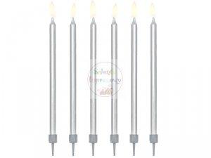Świeczki urodzinowe metalizowane srebrne 12szt