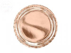 Talerzyki okrągłe różowe złoto 23 cm - 6 szt